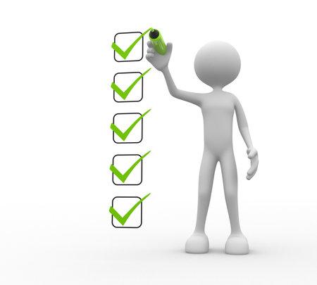 3d mensen - een man, persoon en een checklist.