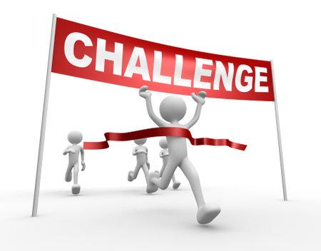 3d people - man, person and finish line. Challenge Banco de Imagens - 20884639