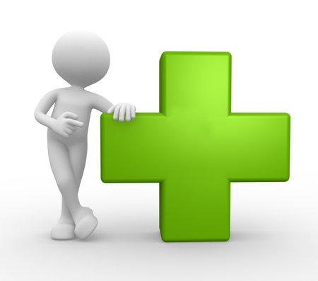 3d mensen man, persoon en groen kruis