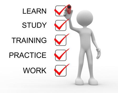 3d mensen - een man, persoon met een checklist. Leren, studeren, oefenen, opleiding, werk Stockfoto
