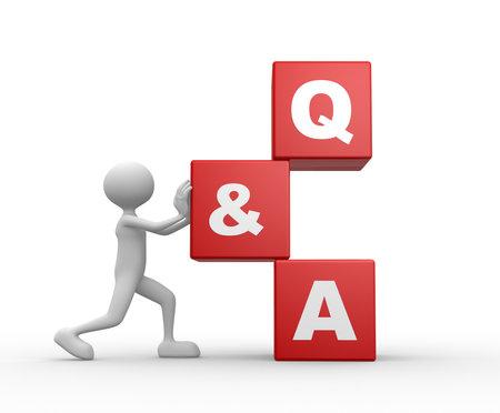 3d mensen - een man, persoon met een kubussen en tekst Vraag en antwoord - Q & A