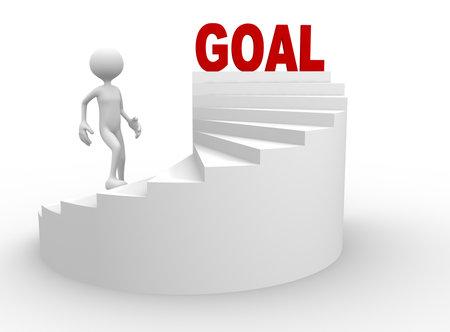 3d mensen - een man, persoon met trap en woord doel