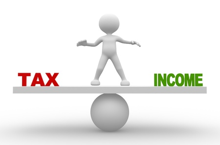 3d people - man, person with word tax and income on balance scale