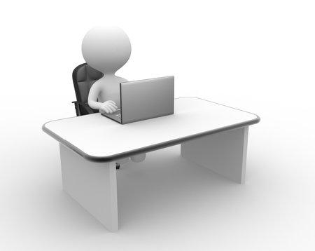 3 d の人々 - 人、人と、ノート パソコン。オフィス
