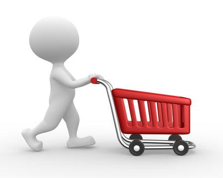 3d mensen - een man, persoon met een shopping auto