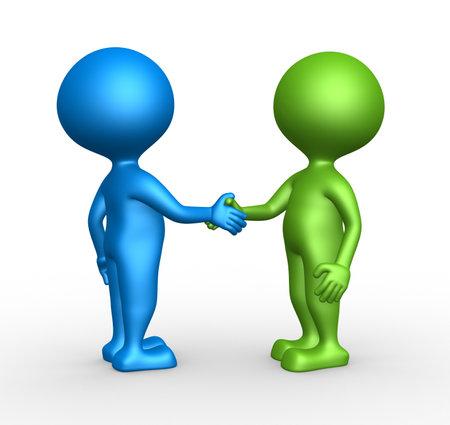3d mensen - een man, persoon partnerschap - handdruk. Stockfoto