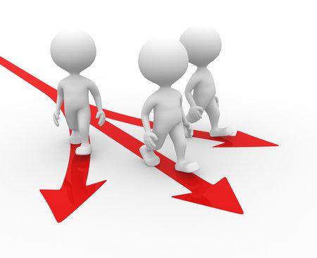 3 人の男、人と方向の記号。矢印