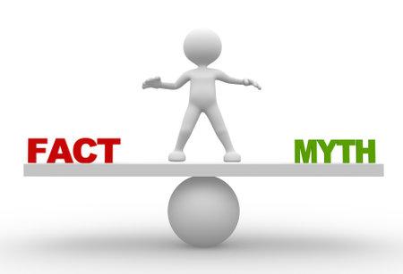 """3d mensen - een man, iemand met woord """"feiten"""" en """"mythes"""" per saldo schaal"""