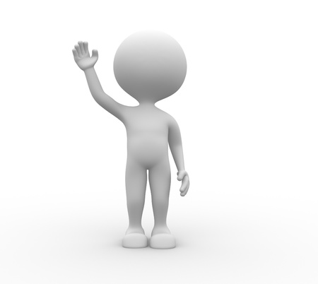 3d people - man, person salute Stock Photo - 21138684