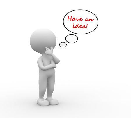 3 d の人々 - 人は、泡とテキストを持つ人アイデアを持っている !