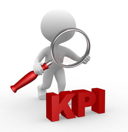 3d mensen - een man, persoon met een vergrootglas en KPI (key performance indicator)