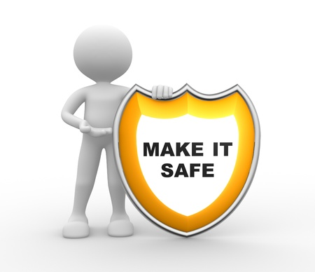 3d people - man, person with a shield. Make it safe  Stock Photo