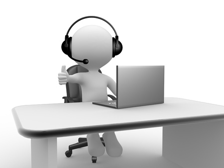 3d people - man, person with a Headphones with Microphone and laptop. Stock Photo - 21138708
