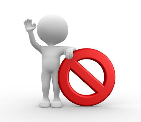 3d personnes - homme, la personne et signe d'interdiction Banque d'images - 21138730