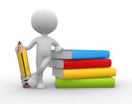 3d mensen - een man, persoon met boeken en een potlood