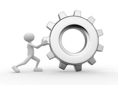 3d people - man, person with gear mechanism  Wheel Stock Photo - 21358964