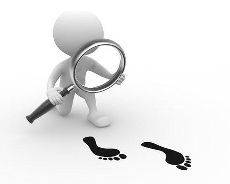 3d mensen - een man, persoon met een vergrootglas en footprint