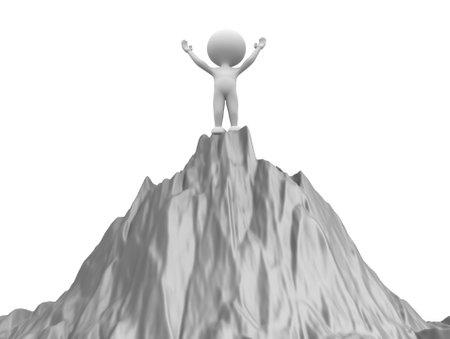 3d mensen op de top van de berg Stockfoto