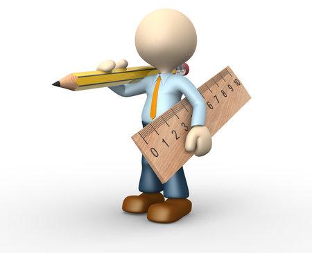 3d les gens - homme, personne avec un crayon et une règle. Banque d'images - 24976132