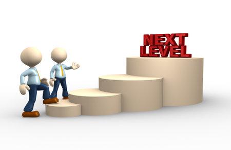 3d mensen - een man, persoon beklimt de ladder van een hoger niveau Stockfoto