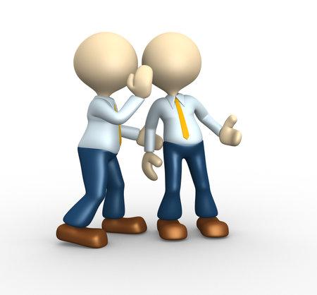 3d mensen - een man, persoon fluistert in zijn oor aan een andere persoon.