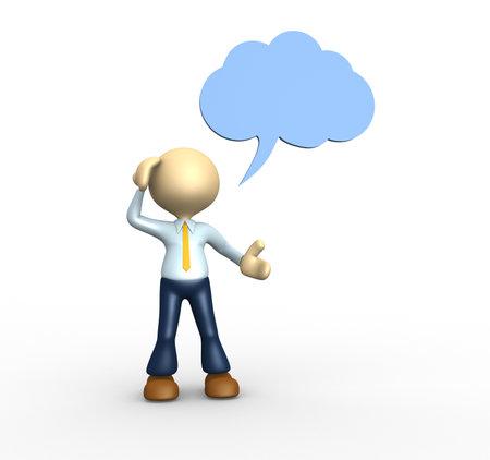 3d mensen - een man, persoon denken met gedachte bubble boven zijn hoofd over