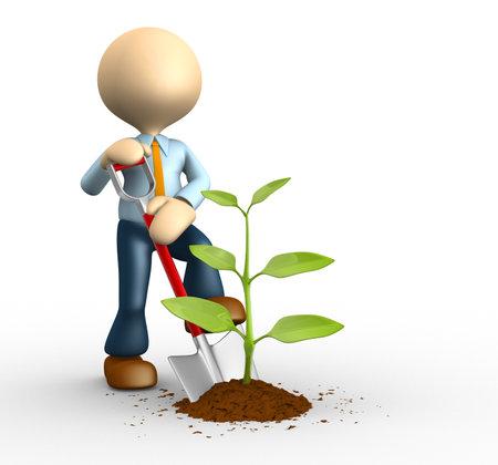 3d mensen - een man, persoon met spade en plant. Tuinman Stockfoto