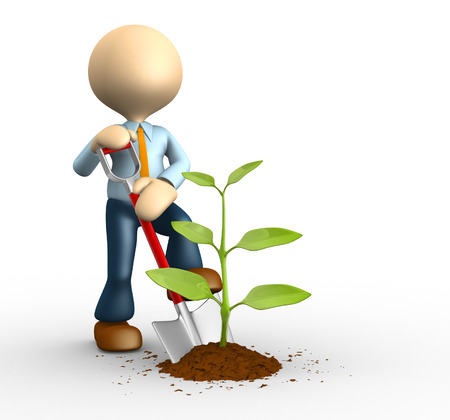 3d people - man, person with spade and  plant. Gardener