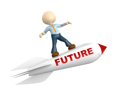 3d people - man, person with a rocket. Future concept Stock Photo