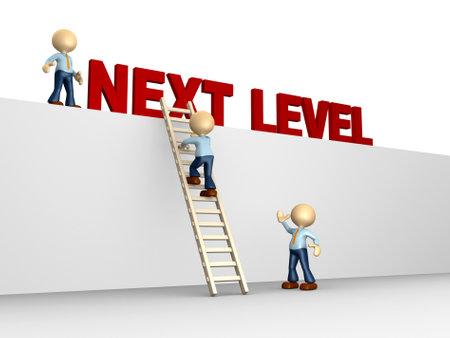 3d mensen - een man, persoon met ladder. Volgende niveau. Vooruitgang concept.