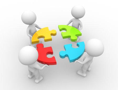 3d mensen - mannen, persoon en een stukjes van de puzzel. Samenspel