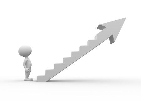3 d の人々 - 人、人の成功のはしごを登る 写真素材