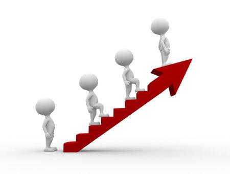 3d mensen - mannen, persoon klimmen op de ladder van het succes