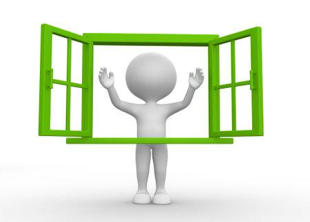 3d mensen - een man, iemand met een open raam Stockfoto