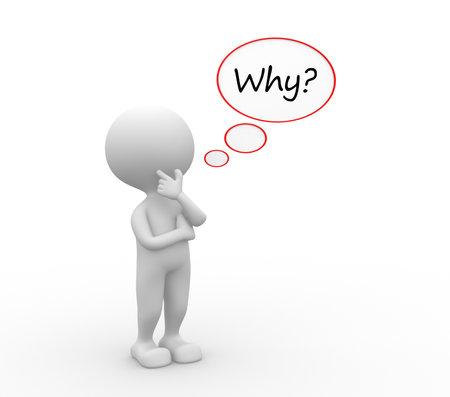 3d mensen - een man, persoon met bellen en vragen waarom? Stockfoto