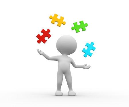 3d mensen - een man, persoon jongleren met stukjes van de puzzel