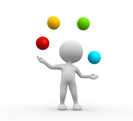 3d les gens - hommes, personne jongle avec des balles Banque d'images - 25849964