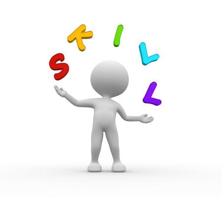 """3d mensen - mannen, persoon jongleert met woord """"vaardigheid"""""""