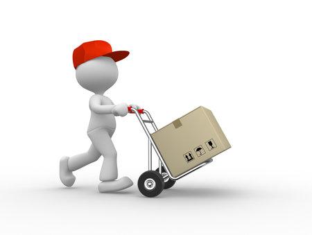 3d mensen - een man, persoon met steekwagen en pakketten. Postman. Stockfoto