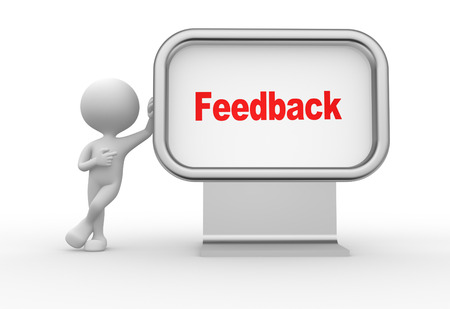 3d mensen - een man, persoon met een reclamebord en woord feedback Stockfoto