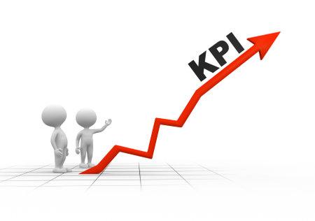 3d mensen - mannen, persoon en arrpw. KPI (Key Performance Indicator) Stockfoto