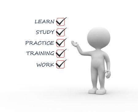 3 d 人 - 男は、チェックリストと。学習、研究、実践、トレーニング、仕事 写真素材