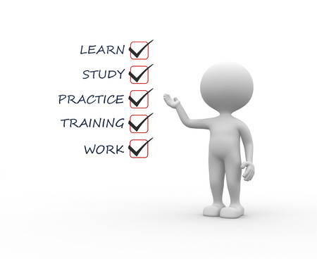 3d people - man, person with a checklist. Learn, study, practice, training, work