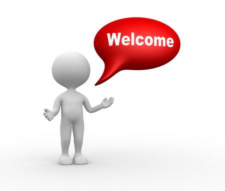 3d mensen - een man, mensen met bel en woord welkom. Welkom gebaar