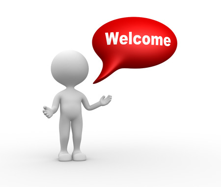 3d people - man, people with bubble and word welcome. Welcome gesture