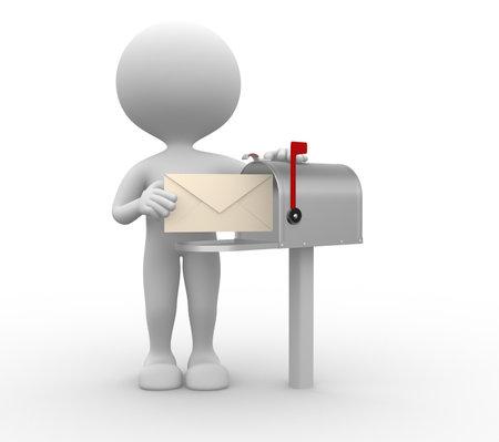 3D 사람들이 - 메일 박스 옆에 봉투와 사람, 사람 스톡 콘텐츠