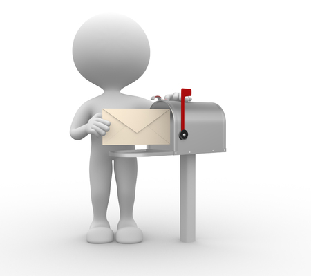 3d people - man, person with envelope beside mailbox Stock Photo - 26111559