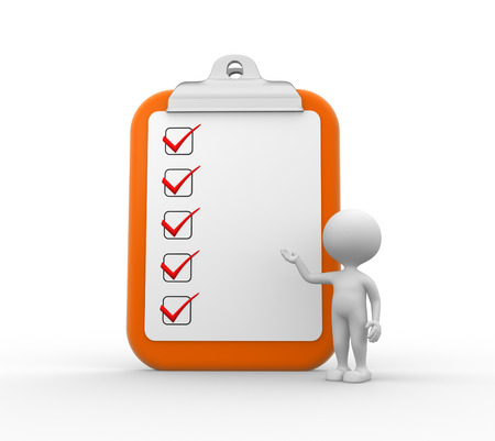 3d mensen - mannen, persoon met grote klembord en checklist
