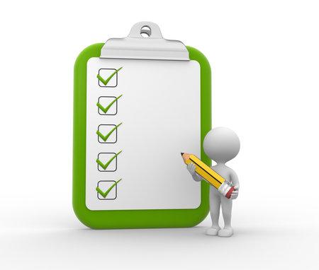 3d mensen - mens, persoon met grote klembord en een potlood. Checklist Stockfoto