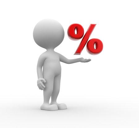 3 d の人々 - 人、記号 % を持つ人。%.割引提供